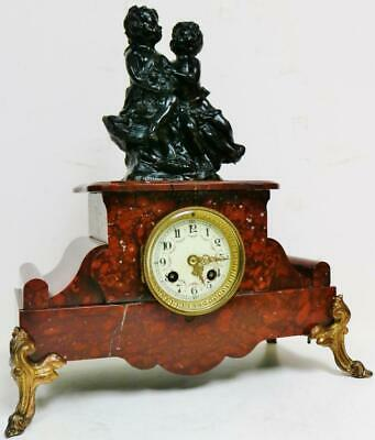 Antique French 8 Day Striking Metal & Red Marble Cherub Figure mantel Clock