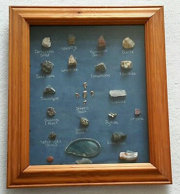 21 x Rocks and Minerals Samples Set Framed