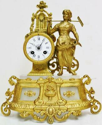 Antique French 8 Day Striking Gilt Metal Lady & Alabaster Figurine Mantel Clock