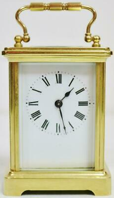 Small Antique 19thC French Classic Brass Ormolu 8 Day Timepiece Carriage Clock