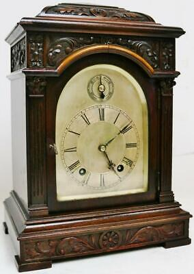 Antique W & H 8 Day Striking Musical Ting Tang Carved Mahogany Bracket Clock