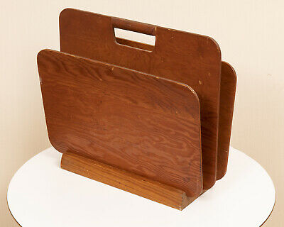 Architectual Mid Century Mod Plywood Magazine Holder Industrial Vintage