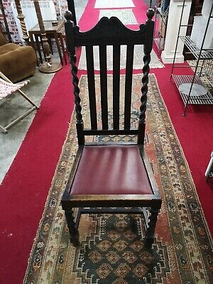 Classic Antique Art Deco 1920s Barley Twist Oak Chair Red Leather seat .