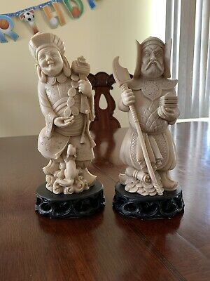 "Set Of 2 Chinese Porcelain Figures 9"" Tall"