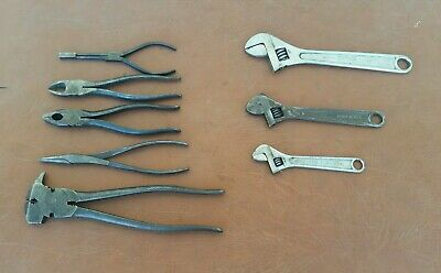 8pc Lot of Vintage Utica Tools, Pliers, Adjustable Wrenches, etc. USA
