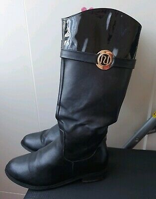 River Island Black Leather Boots Girls Size UK 13