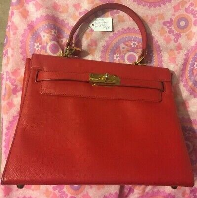 Handbag Vintage Red Real Leather Harrods Kelly Bag Made In Italy Small Designer