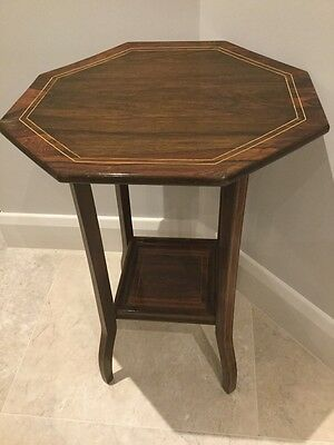 EDWARDIAN Lamp Occasional Table Antique Inlaid Mahogany Octagonal Two-Tier