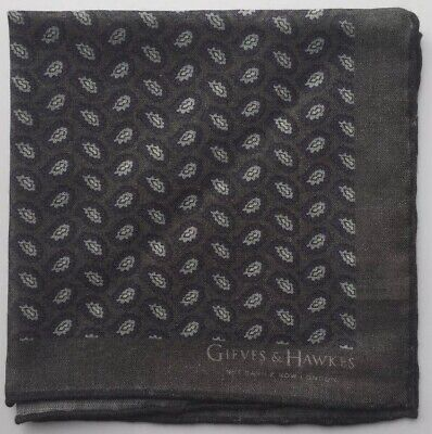 "GIEVES & HAWKES Silk Wool Printed Pocket Square, Brand New 11.5""x11.5"" Grey Blue"