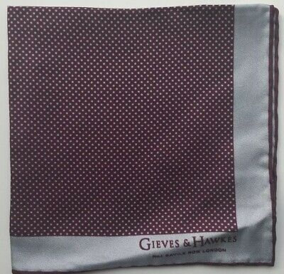 "GIEVES & HAWKES Silk Printed Pocket Square, Brand New, 11.5""x11.5"" Purple Dot"