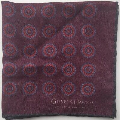 "GIEVES & HAWKES Wool Silk Printed Pocket Square, NEW, 11.5""x11.5"" Red Purple"