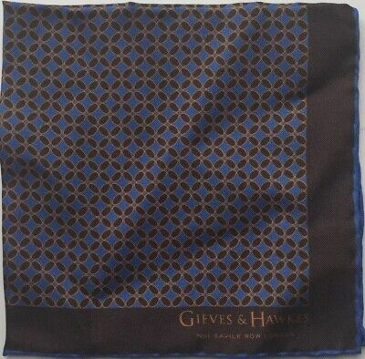 "GIEVES & HAWKES Silk Printed Pocket Square, Brand New, 11.5""x11.5"" Brown Blue"
