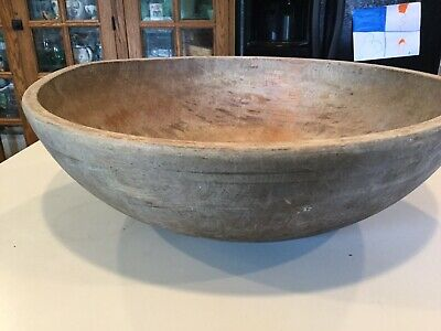 "Antique Primitive 20"" Wood Dough Bowl AAFA"