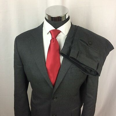 Joseph & Feiss Mens 40R Suit Grey Wool Two Button Pants 34x31 Sport Coat S713