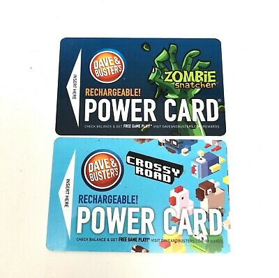 Dave and Busters Power Cards; 103.6 chips and 0.8 chimps Cards