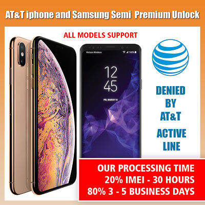 SEMI PREMIUM AT&T Factory Unlock Code Service for iPhone 5S 6 6s 7 8 X XS XR 11