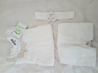 BNWT Vertbaudet White Girls 3 Pc Outfit Set Blouse Top Pants Bottoms Headband 3y