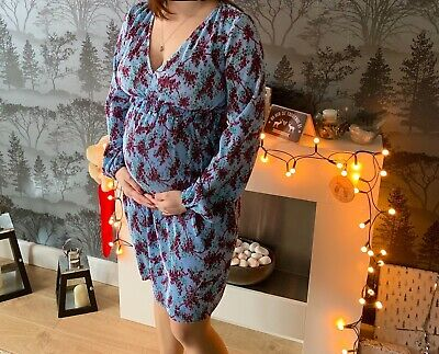 Gorgeous ASOS Maternity Size 10 Occasion/ Christmas Do Dress, Sky Blue Patterned