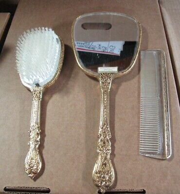 Vintage Vanity set Hand Mirror,Brush, Comb, Gold Plate, circa '50