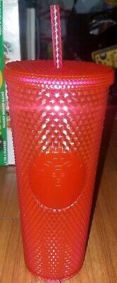 Starbucks Neon Pink Studded Cold Cup Tumbler 2019 Winter Holiday 24oz New