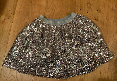 George Girls Silver Full Sequin Christmas Party Skirt - Age 7 - 8