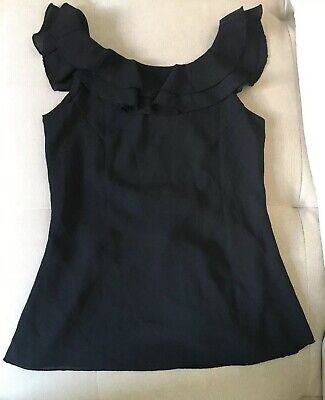 BELLY BASICS Small Black Maternity Frill  Blouse / Top