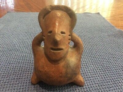Ancient Pre Columbian Effigy  Artifact Pottery Vessel