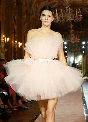 NEW WITH TAGS GIAMBATTISTA VALLI x H&M HM KENDAL JENNER PINK TULLE DRESS size 12
