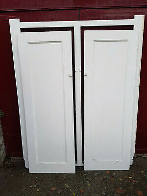 Reclaimed Victorian Wooden Alcove Panel Cupboard Doors and Frame Matching Pair