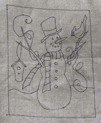 "14"" x 18"" Linen Hooked Rug Pattern - ""Forest Friends Snowman""  *PATTERN ONLY*"