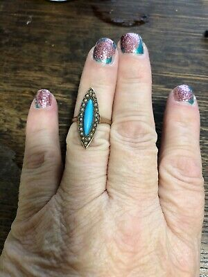 Victorian Robins Egg Blue Turquoise Seed Pearl Navette Ring Repair 9 Carat