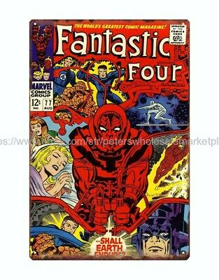 Marvel comic Fantastic Four metal tin sign old reproductions for sale