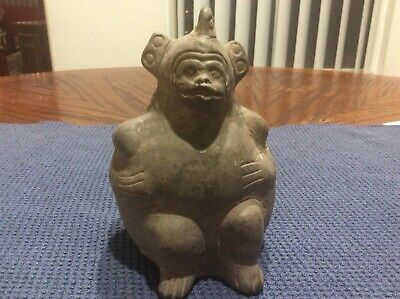 Ancient Pre Columbian Effigy  Artifact Pottery Vessel From Peru