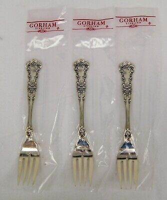 """Lot of 3 Sealed Gorham BUTTERCUP Sterling Silver Place Size Salad Fork 6 3/4"""""""