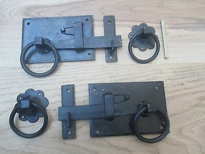 Rustic Wrought Iron Old Vintage Cottage Style Anneau Door Latch Handles
