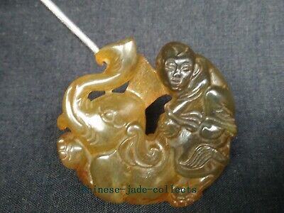 Collection Old China Jade Hand Carving Propitious Monkey Elephant Pendant Amulet