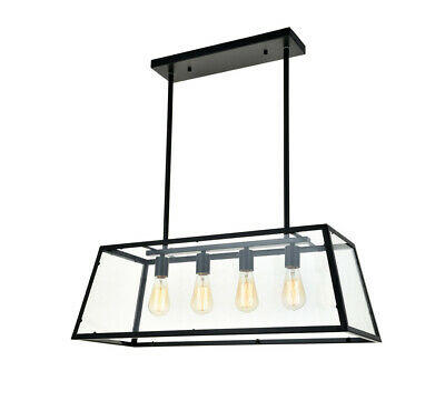 LNC Wood Rectangle Chandeliers 4 Light Kitchen Island Chandelier Lighting