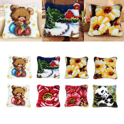 Latch Hook Kits for Kids Beginners Embroidery Panda Bear Flower Pillow Cover