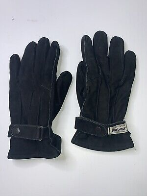 Barbour Thinsulate Black Suede Leather Gloves Men's Size Small