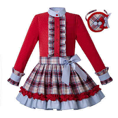Kid Girl Christmas Red Blouse Top Tartan Skirt Headband Spanish Frilly Party Set