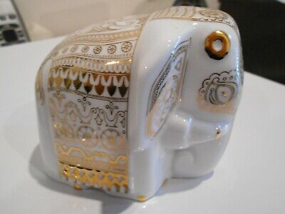 Beautiful Mlesna Tea Elephant (No Tea) White With Gold Patterns Appr 9Cm High