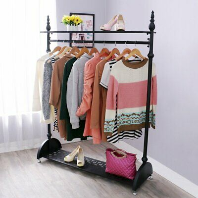 Heavy Duty 4ft Garment Clothes Rail Hanging Rack Shop Display Stand Shoe Storage