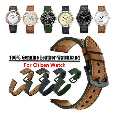Rplacement 20mm 22mm Lug Genuine Leather Watch Band Strap for Citizen Watch
