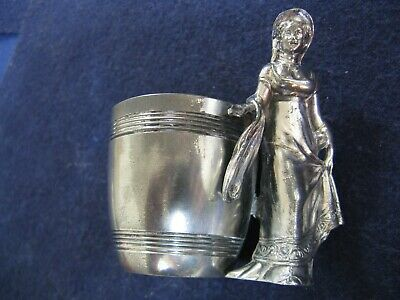 WOMAN FIGURAL TOOTHPICK HOLDER... SILVER PLATE by DERBY SILVER CO (1873-1933)