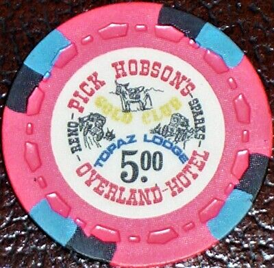 Old $5 OVERLAND Casino Poker Chip Vintage Antique Small Crown Mold Reno NV 1974