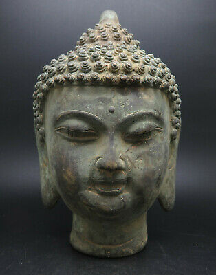 Ancient Bronze Gandhara Buddha Head Statue Big Size