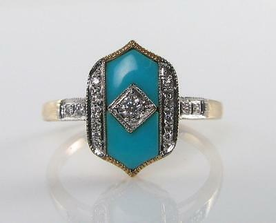 9K 9Ct Yellow Gold Persian Turquoise Diamond Art Deco Ins Ring Free Resize
