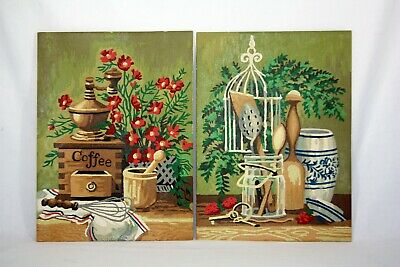 Vintage PBN Paint By Numbers Kitchen Still Pair FREE SHIPPING