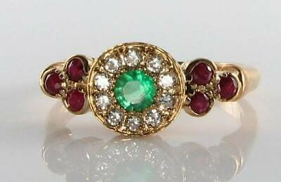 Unusual 9K 9Ct Gold  Indian Ruby Emerald & Diamond Art Deco Ins Ring Free Resize