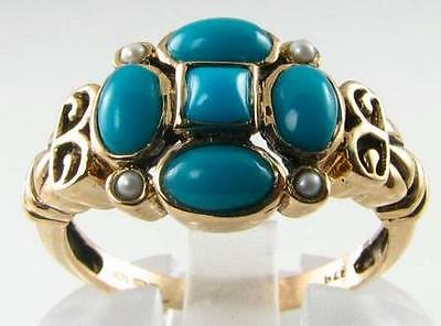 Unusual 9Ct 9K Gold Persian Turquoise & Pearl Art Deco Ins Ring Free Resize